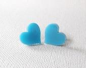 Black Friday Sale,Blue Heart Earrings - Aqua Blue Heart Stud Earrings - Spring Jewelry - Heart Jewelry - Light Blue Jewelry (E097)