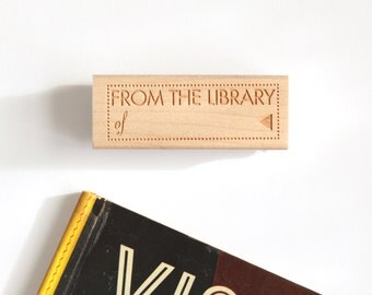 Bookplate Rubber Stamp, From the Library of, (Wood Mounted) Ex Libris with optional wooden handle (S302) Teacher Gift Idea