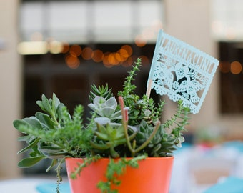Summer Party - Personalized Mexican Wedding Centerpiece Flags - DOS PALOMITAS - custom color