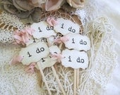 i do Wedding Cupcake Toppers Party Picks - Parchment - Set of 12 or 18 - Choose Ribbons - Vintage Rustic Shabby Style Wedding
