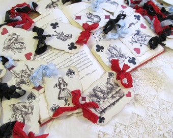 Alice in Wonderland Banner Playing Cards with ribbons - Alice Tea Party Bunting Garland - Birthday Bridal Shower Tea Party Looking Glass
