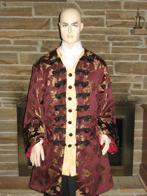 Custom Made Male or Female Bach, Handel, Baroque Era style 5 piece frock coat, shirt with NEW STYLE Lace Jabot, breeches, and waistcoat