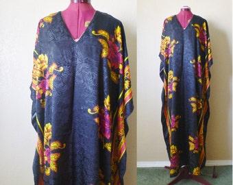 vintage floral CAFTAN black/golden yellow. mumu dress. maxi dress. bohemian dress