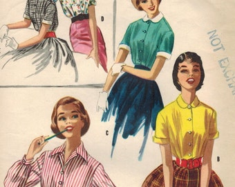1950s McCall's 3368 Vintage Sewing Pattern Teen's Blouse Size 10 Bust 28