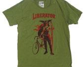Men's Fixie Bike TShirt, The Liberator, in Army Green