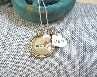 Custom Jewelry ... Love and Heart ... Personalized Family Necklace ... Hand Stamped Necklace ... Mothers Necklace ...
