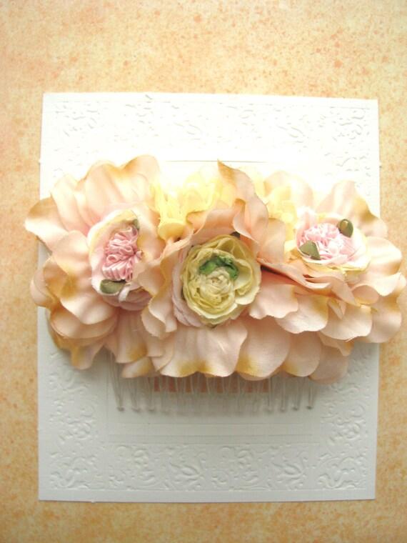Bridal Flower Headpieces, Pink Flower Hair Comb, Wedding Head Piece, Flower Girl Hair