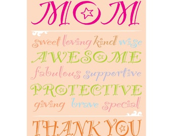 Mom, Thank You - Typography Print