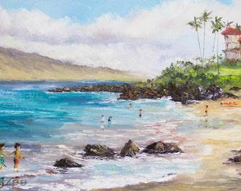 POLO BEACH MAUI Original Oil Painting 12x24 Art Tropical Hawaii Hawaiian Palm Tree Snorkel Kayak Vacation Wailea Fairmont Resort Tourist