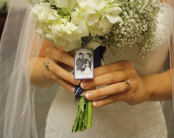 Photo Frame Rectangle Bouquet Charm