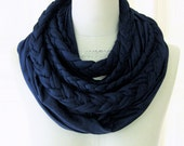 braided loop jersey in dark blue marine 100% cotton