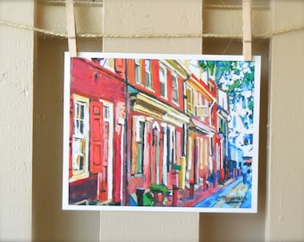 Philadelphia Art Old Town Painting Art Print, Elfreth's Alleys, Colonial America Red Cityscape Painting, Gwen Meyerson