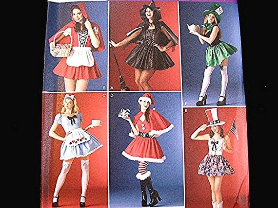 Women Costume Sewing Pattern Sexy Pirate Red Riding Hood Witch Mrs Santa, Alice in Wonderland Costumes Misses Adult size 10 12 14 16 Uncut