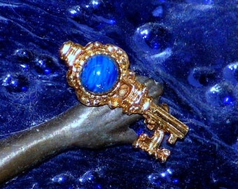 Vintage Brooch - Skeleton Key - Gold Metal Pin - Lapis Lazuli Blue Cabochon Bead - SteamPunk
