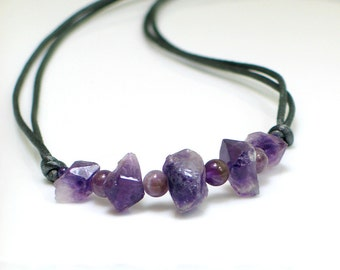 Amethyst Raw Stone Nugget Purple Necklace, Long Satin Chain & Stones, Bohemian Trend Long Necklace, Natural Gem Jewelry, February Birthstone