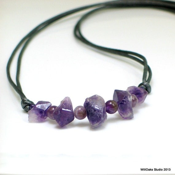 amethyst crystal necklace - photo #29