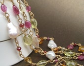 RESERVED Hartfield - pearl and gemstone, citrine, tourmaline, and garnet necklace