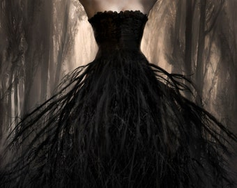 NOIR WOODS Fine Art Print - represents a deep, dark, earthy sensuality. Gothic, Haute Couture pagan witch