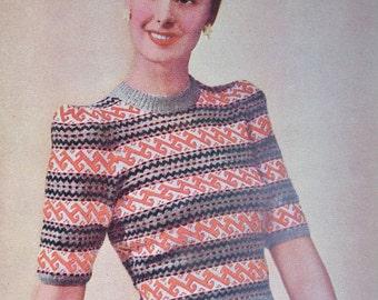 Vintage 1940s Sewing  Knitting Needlework Magazine Needlewoman and Needlecraft January 1947 40s Fair Isle knitting child's slippers pattern