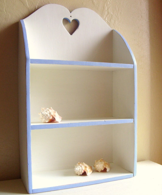 Large White and Robins Egg Blue Wood Curio Shelf Shabby Chic