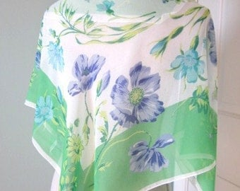 "Vintage Scarf - Laura Ashley Scarf - Floral Chiffon Scarf - 35"" Square - Vintage Kerchief - Gift for Her"