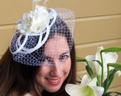 Bridal fascinator - white ivory with birdcage flowers feathers LIZA BRIDE 0