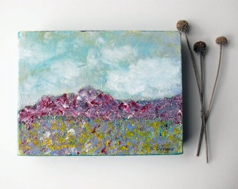SALE Modern Landscape Painting Fine Art Small Original Contemporary Acrylic on 6x8 Canvas Wildflowers Spring Mountains Art for Small Space