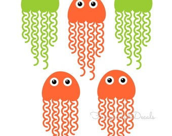 Jellyfish Wall Decal, vinyl stickers, nursery wall decal, under the sea, jellyfish decals, fish theme decal, ocean beach, vinyl wall decals
