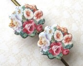 Scalloped Round Hair Pins. Multicolored Cottage Garden Bouquet on White Porcelain. Pink. Blue. Green. Shabby Chic. Set of 2 Bobby Pins. Gold