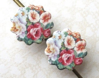 Ceramic Hair Pins. Cottage Garden. Roses. Porcelain. Pink. Blue. Green. Yellow. Flower Bobbies. Shabby Chic. Set of Two. Gold. Vintage Style