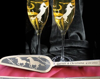 Country Western Wedding Cake Server & Champagne Flute Set for Cowboy Wedding, Horse Theme