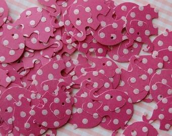 Dark Pink and Sparkle Polka Dot Elephant Cut Outs -- Set of 50 elephants -- Ready to Ship