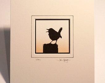Wren Hand-Cut Papercut