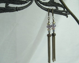 Handmade Bohemian Earrings Antiqued Brass Faceted Crystal Vintage Chain Drops