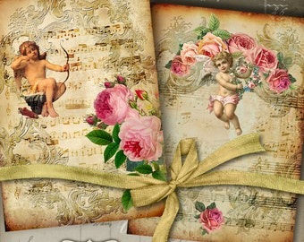 Printable Download HEAVENLY MUSIC No.1 Greeting Cards Digital Collage Sheet, 5x7 inch size images, print-it-yourself Vintage diary cover