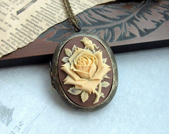Cream Rose Flower Cameo Brown Shabby Chic Large Locket Necklace Mom Birthday Necklace Anniversary Gift Brown Fall Vintage Inspired Necklace