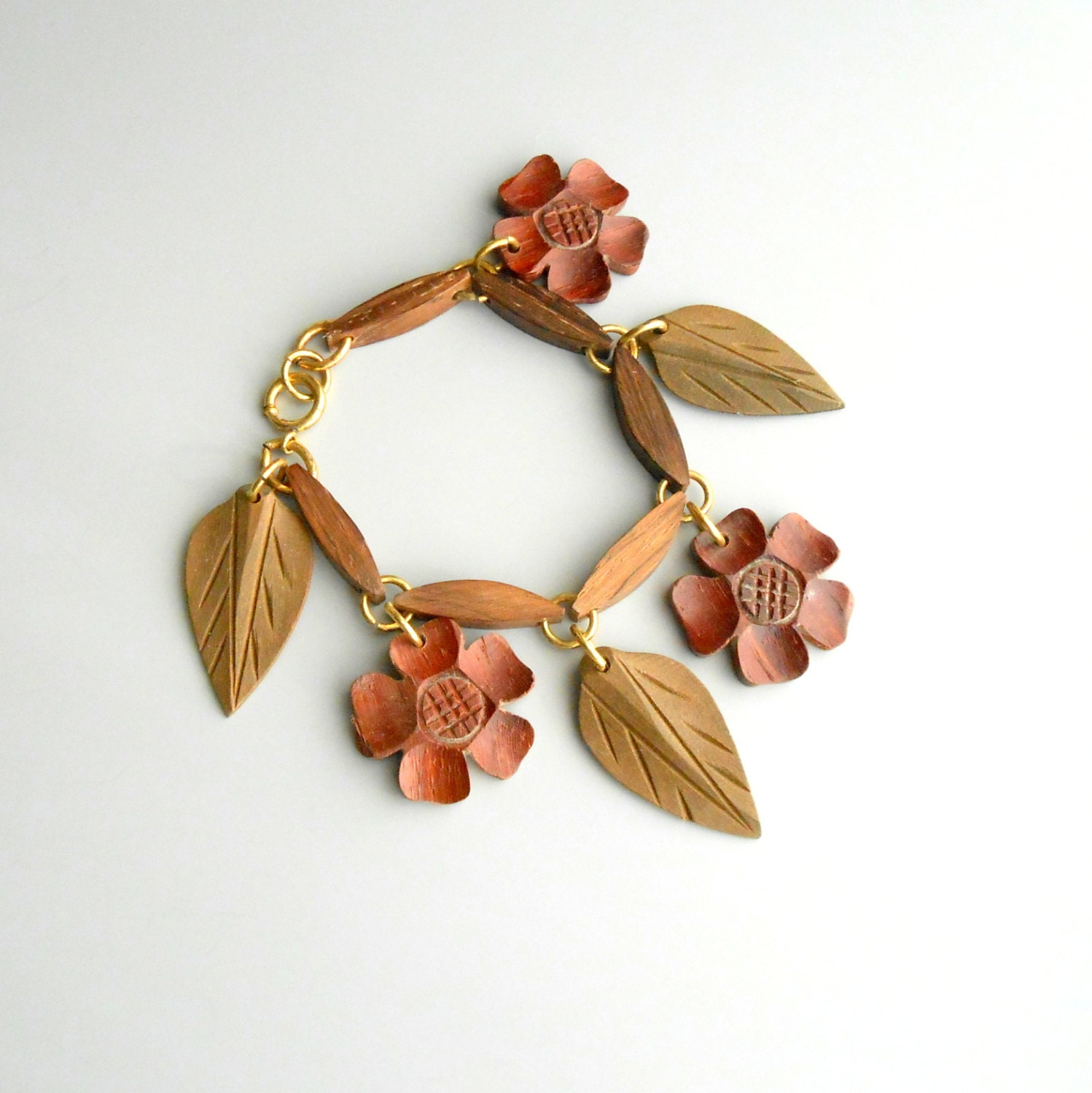 Wood flowers leaves bracelet 1940s carved wood for How to carve a wooden ring