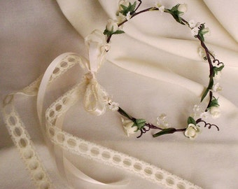 flower girl baby halo Ivory floral crown Rustic chic lace tie hair wreath circlet farm Wedding Bridal party accessories woodland photo prop