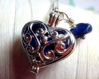 Worry Locket - lapis heart locket / heart locket / heart necklace / silver locket / lapis necklace / birthstone necklace / lapis lazuli