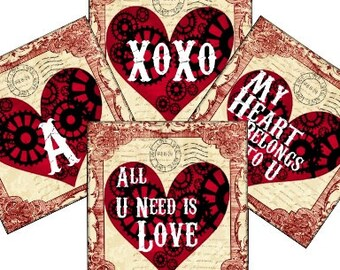 All U Need Is Love Steampunk Valentine 1 In Digital Collage Sheet - monogram scrabble tags patera glass tiles jewelry - U print 300dpi