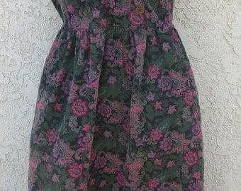 1990s Eddie Bauer Floral Courduroy Dress (Large)