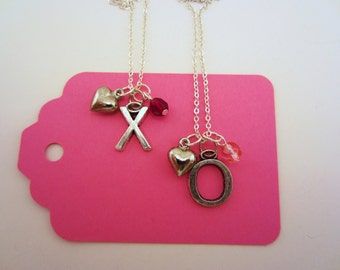 Best friend gift. Best friend necklace. XO necklace. Hugs and kisses. Valentines day. Set of two silver charm necklaces.