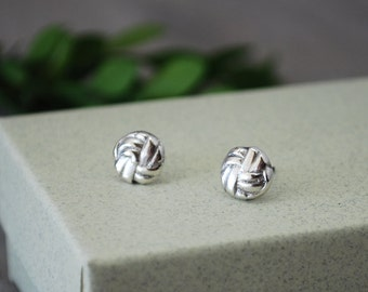 Sterling Silver Stud Earrings - Small Nautical Knot Earrings - Sterlng Silver Post Earrings