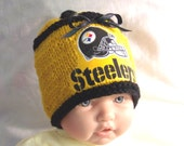 Hand made knit NFL Pittsburgh Steelers baby hat beanie 0-12M- cute gift photo prop