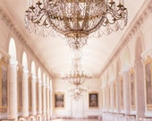 Paris France Photography, Chandelier in Le Grand Trianon, Versailles, Gold French Home Decor, Large Wall Art, Paris Decorative Art