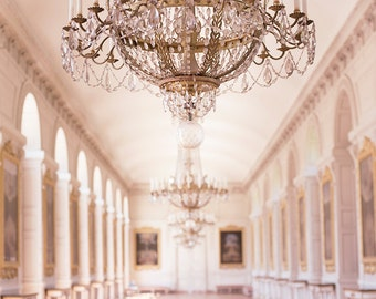 Paris France Photography, Chandelier in Le Grand Trianon, Versailles, Gold French Home Decor, Large Wall Art, Paris Decorative Art