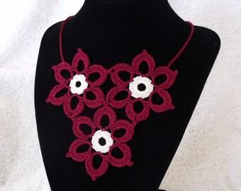 Crocheted Flower Bib Necklace