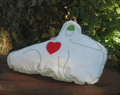 Frog with a Heart Pillow, unique and washable 22x14