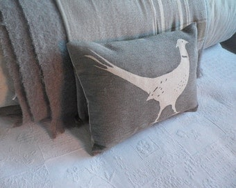hand printed  classic little grey pheasant cushion