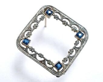 Dainty Edwardian 10K Filigree & Sapphire  Lace Pin - Square - White Gold